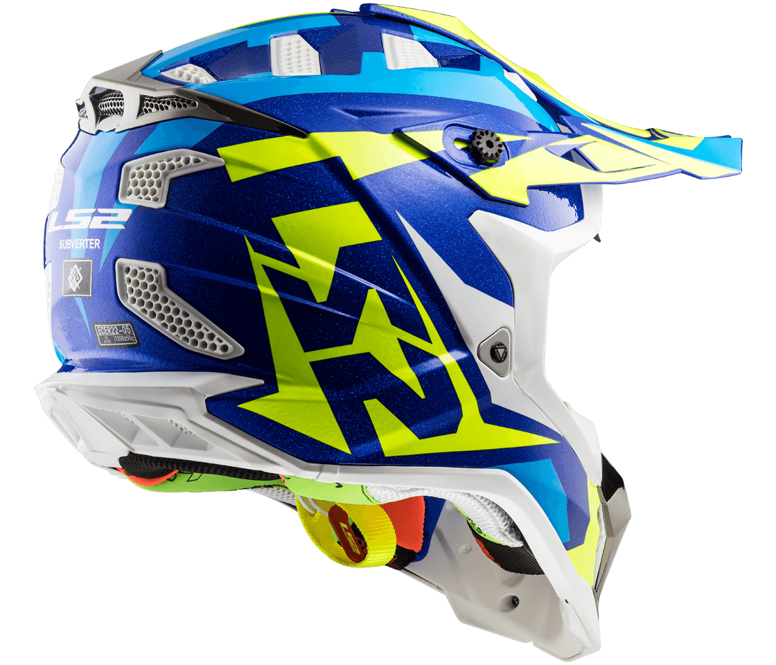 Helmet LS2 MX 437 SUBVERTER (NIMBLE White Blue H-V Yellow)