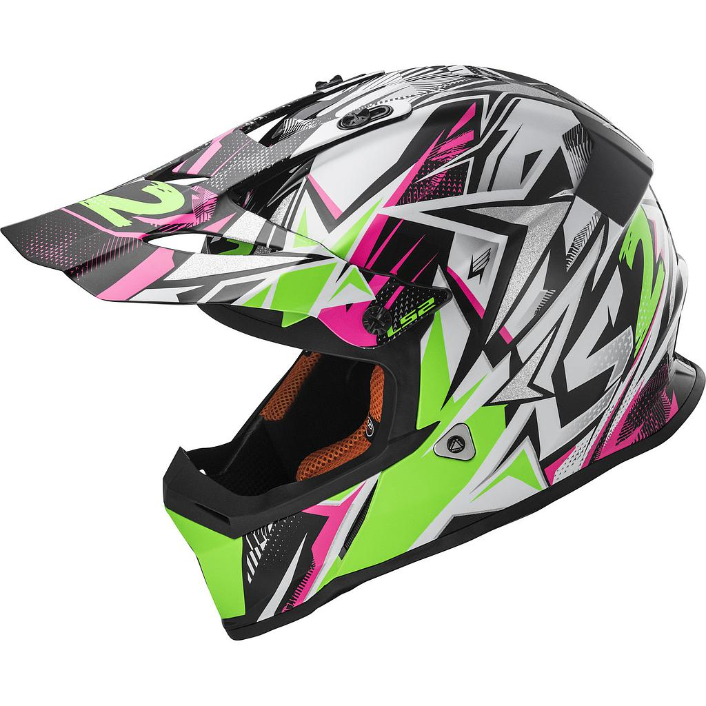 Helmet LS2 437 KID (STRONG White Green Pink)